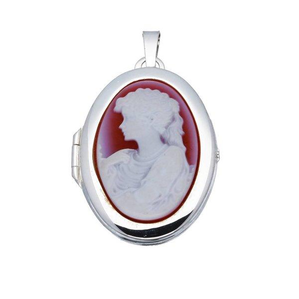Zilveren medaillon - ovaal - camee rood