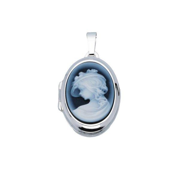 Zilveren medaillon - ovaal - camee blauw