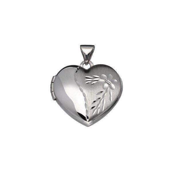 Zilveren medaillon - bewerkt - 16x18mm