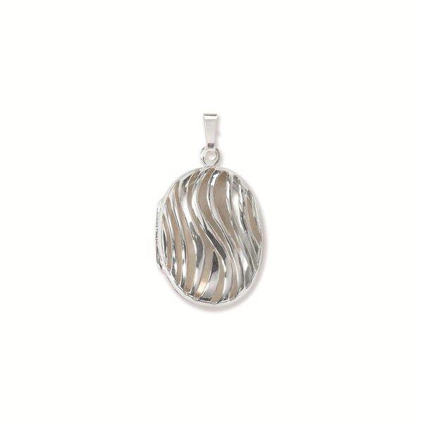 Zilveren medaillon - ovaal - bewerkt - 19 mm