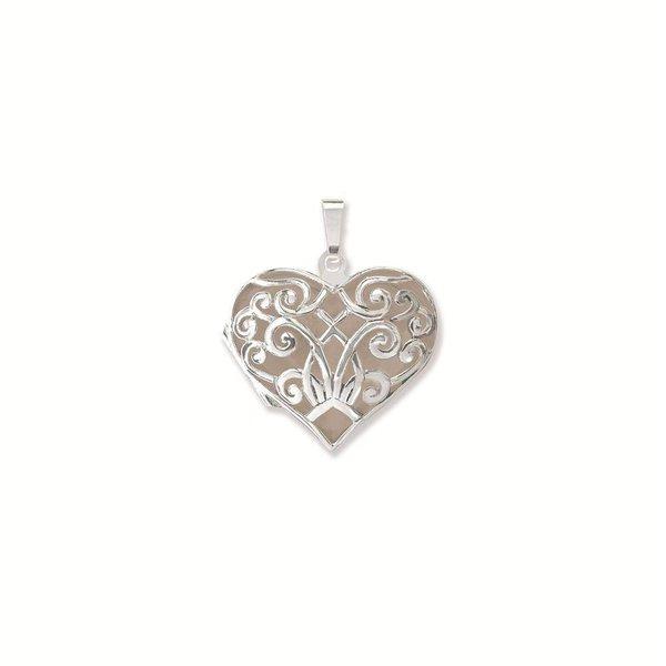 Zilveren medaillon - hart bewerkt - 26 mm