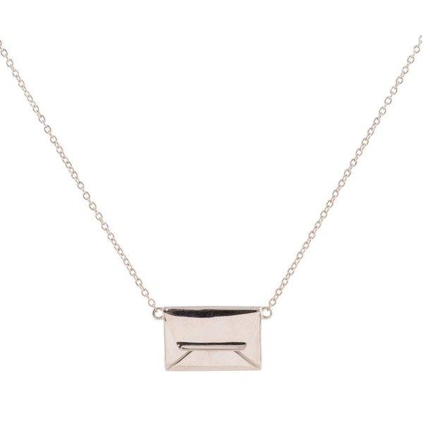 Zilveren symboolcollier - enveloppe - graveerbare