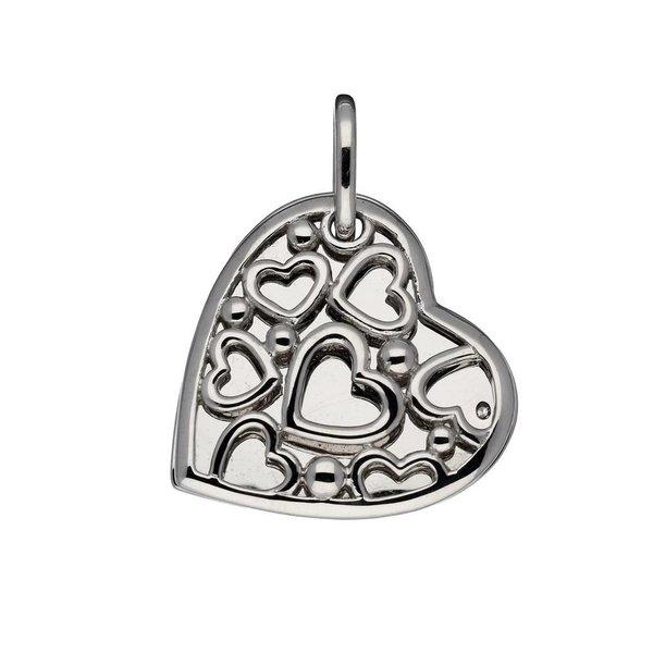 Zilveren medaillon - 24mm - assymetrisch hart