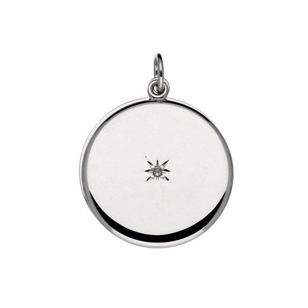 Zilveren medaillon - 22 mm – rond met diamant