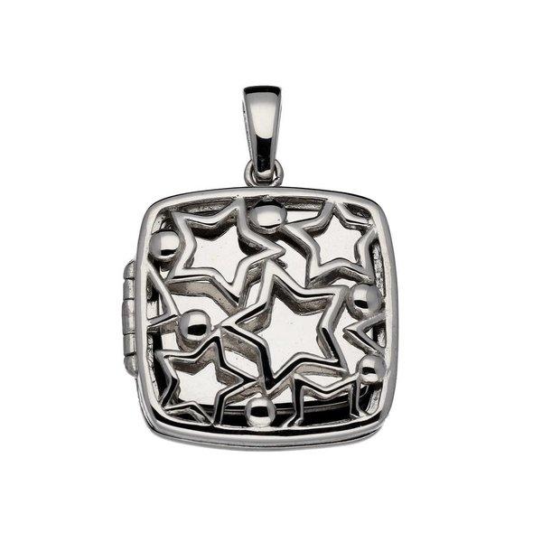 Zilveren medaillon - 24 mm – vierkant met sterren