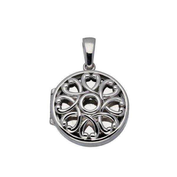 Zilveren medaillon - 22 mm – rond met bloem