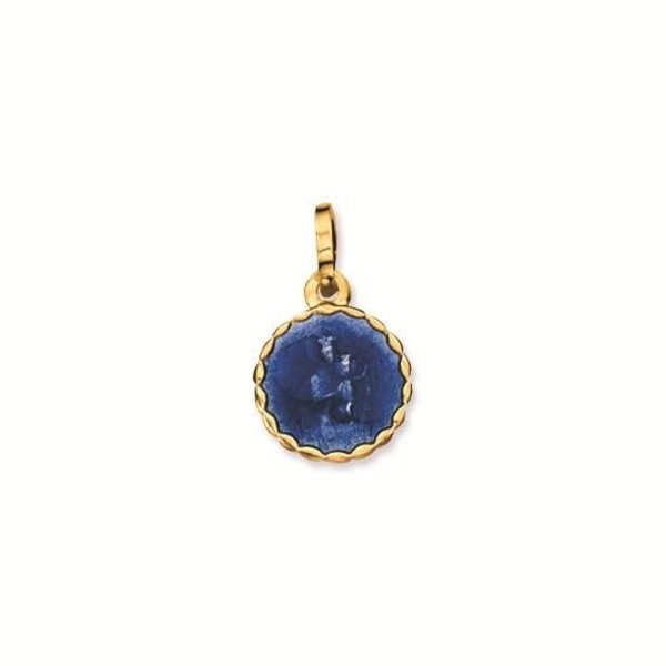Gouden medaille - 10 mm - rond - blauw emaille