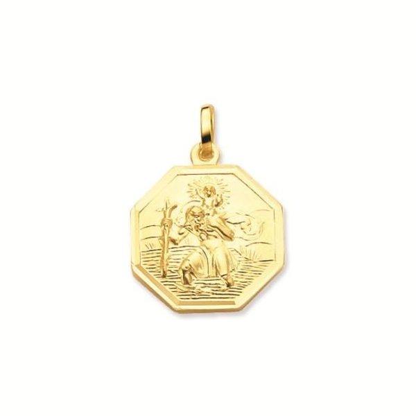 Gouden christoffel - 16 mm - achtkant -gladde rand