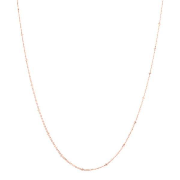 Zilveren rose-plated lengtecollier - gourmet 1 mm