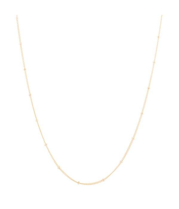 Best basics Zilveren gold-plated lengtecollier - gourmet 1 mm - Met bolletjes