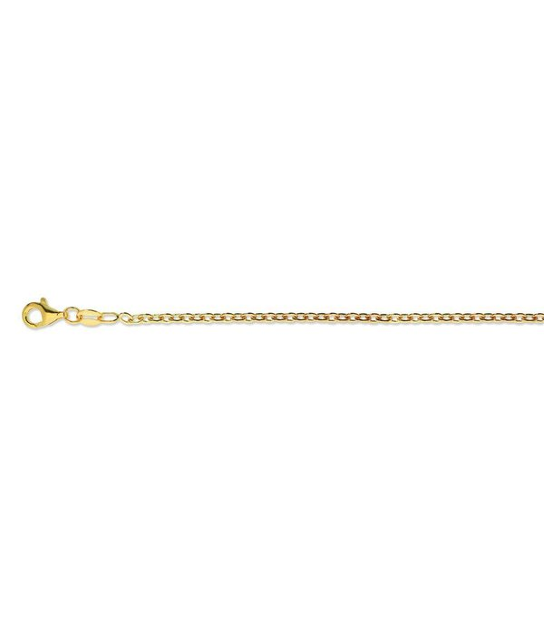 Best basics Zilveren  lengtecollier- gold plated - Anker - 2.3 mm - 90 cm