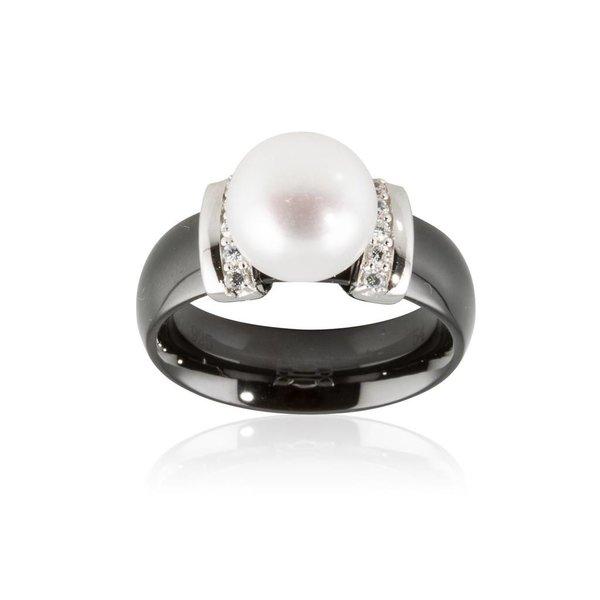 Zwarte ring van keramiek  - zilver parel zirkonia