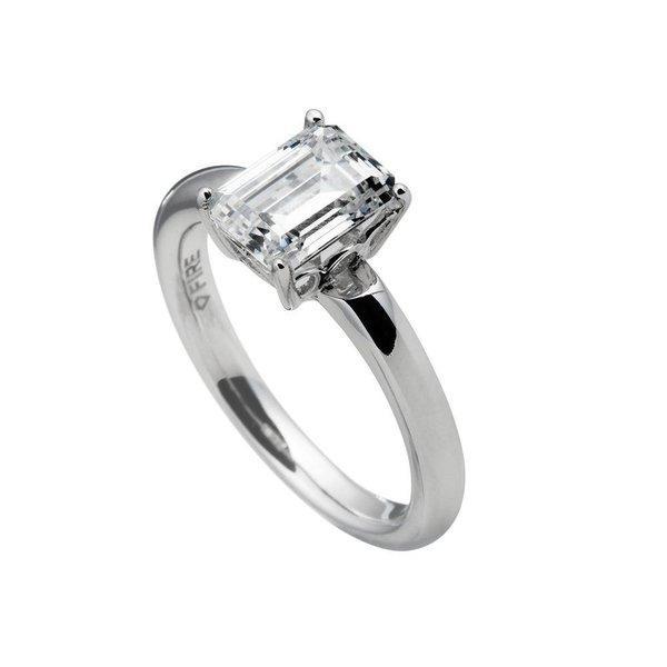 Zilveren solitaire ring diamonfire