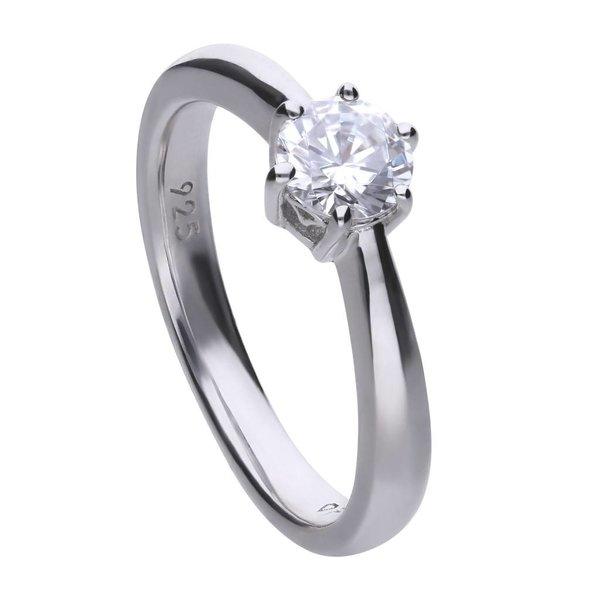 Zilveren solitaire ring diamonfire - 0.75 ct