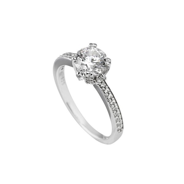 Zilveren solitaire ring diamonfire
