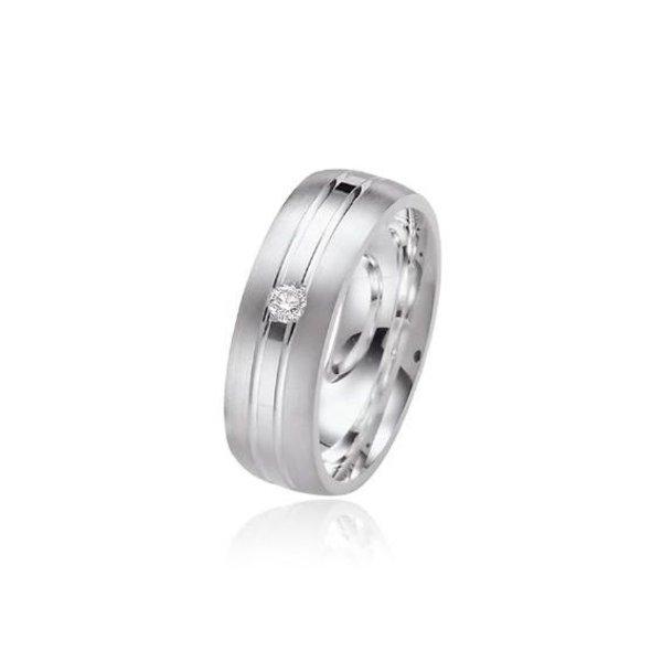 Zilveren vriendschapsring - 7 mm - 1 x zirkonia