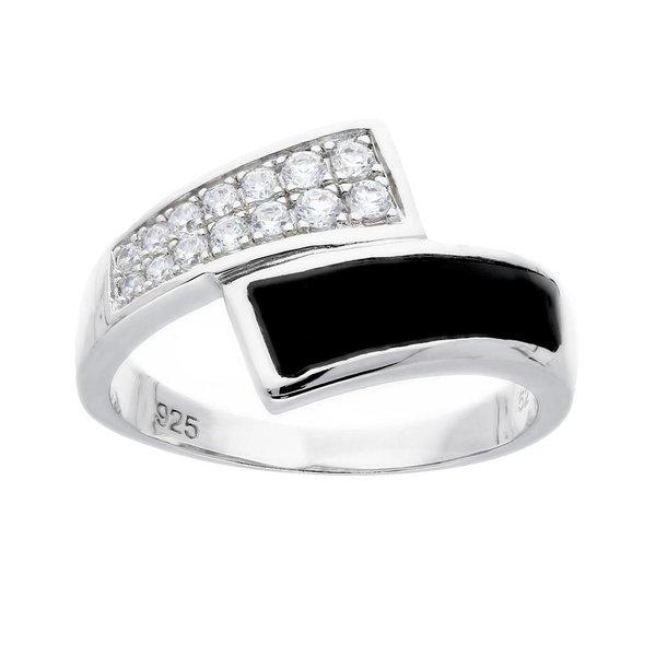 Zilveren damesring - zwart agaat - zirkonia
