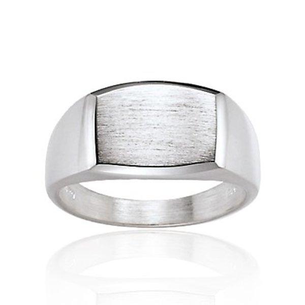 Zilveren herenring - rechthoek