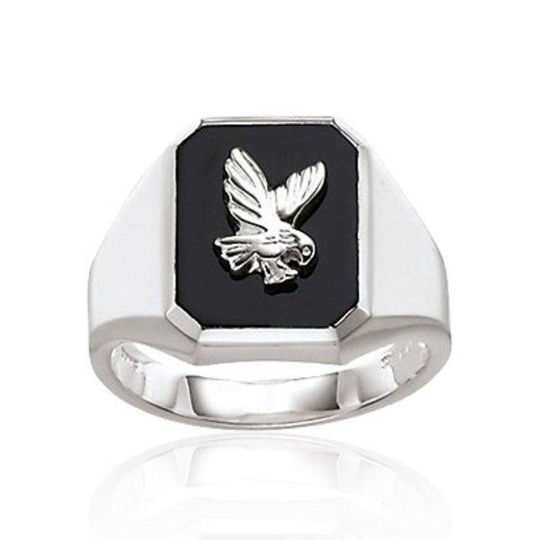 Zilveren herenring - met adelaar in onix