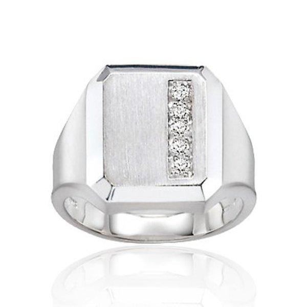 Zilveren herenring - vierkant met zirkonia