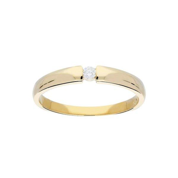 Gouden ring - glanzend - diamant - 1-0.06ct - g/si