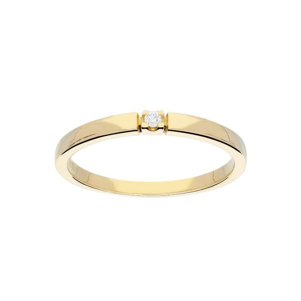 Gouden ring - glanzend - diamant - 1-0.02ct - g/si