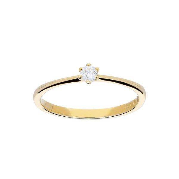 Gouden ring - glanzend - diamant - 1-0.1ct - g/si