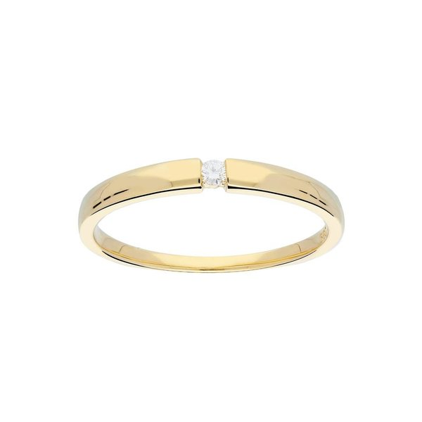 Gouden ring - glanzend - diamant - 1-0.03ct - g/si