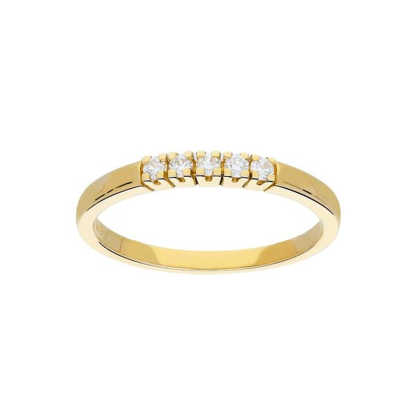 Gouden ring - glanzend - diamant - 5-0.1ct - g/si