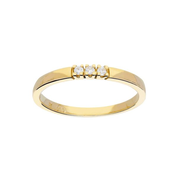 Gouden ring - glanzend - diamant - 3-0.06ct - g/si