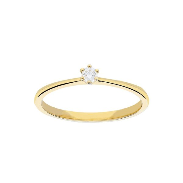 Gouden ring - glanzend - diamant - 1-0.07ct - g/si