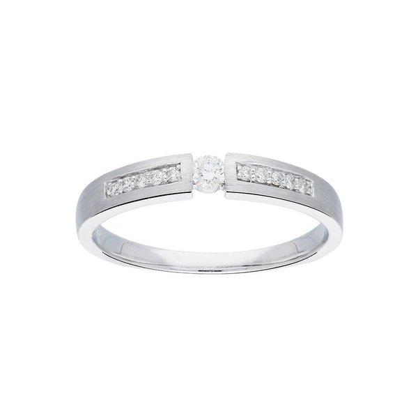Witgouden ring - mat - diamant - 11-0.13ct - g/si