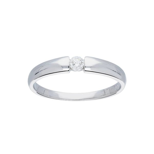 Witgouden ring - glanzend - diamant - 1- 0.1ct
