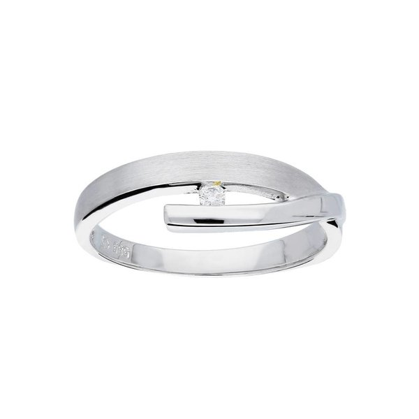 Witgouden ring - mat glanzend - diamant - 1-0.03ct
