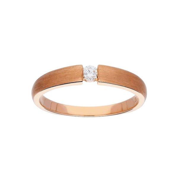 Roségouden ring - mat - diamant - 1-0.06ct - g/si