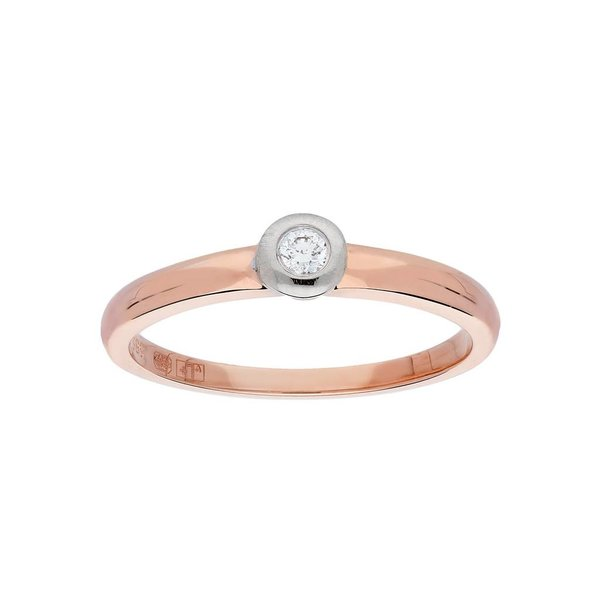 Gouden ring - bicolor - mat glanzend - diamant