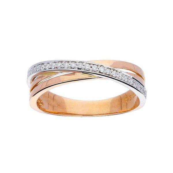 Gouden ring - bicolor - glanzend - diamant