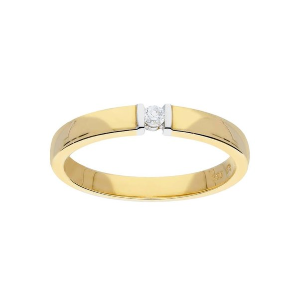 Gouden ring - bicolor - glanzend - diamant