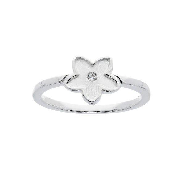 Zilveren kinderring - zirkonia - bloem