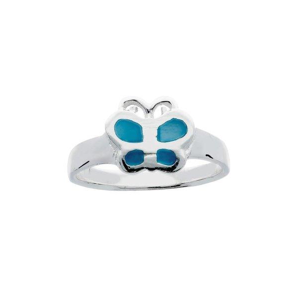 Zilveren kinderring - blauwe vlinder