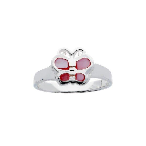 Zilveren kinderring - roze vlinder