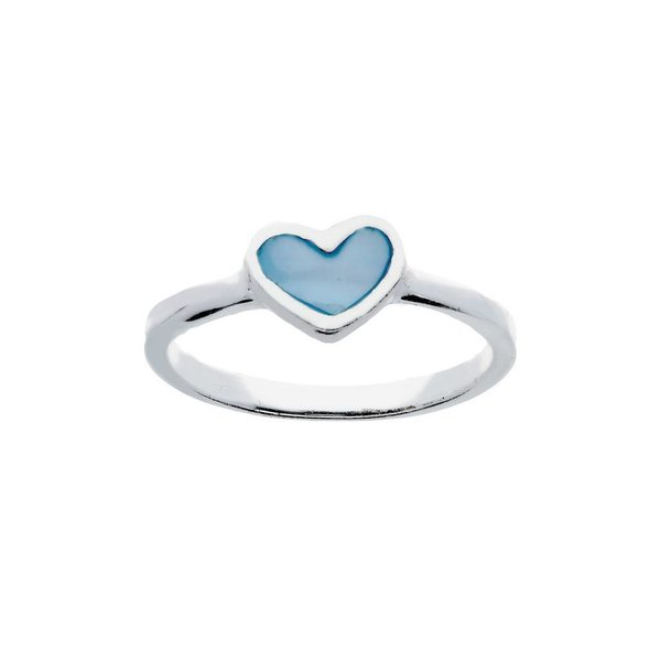 Zilveren kinderring - met parelmoer blauw hart