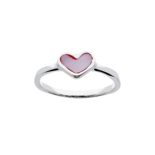 Zilveren kinderring - met parelmoer roze hart