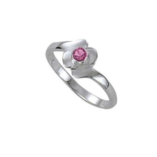 Zilveren kinderring - met roze steen