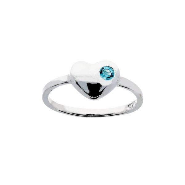 Zilveren kinderring - hart met blauwe kristal