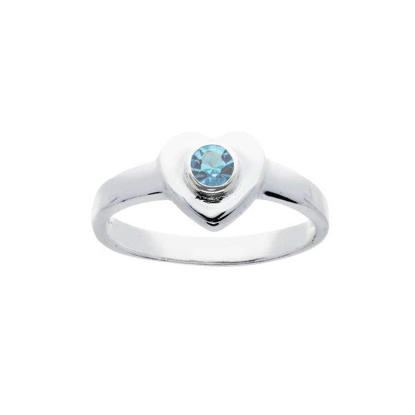 Zilveren kinderring - met blauw hart van glas