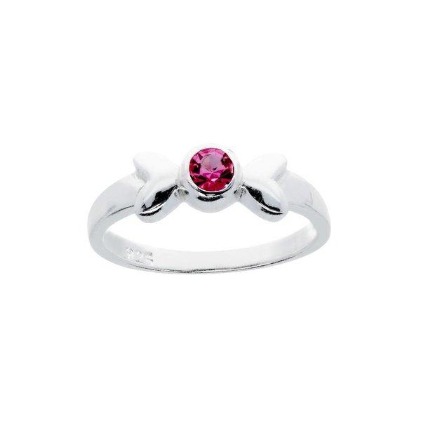 Zilveren kinderring - met 2 roze harten van glas