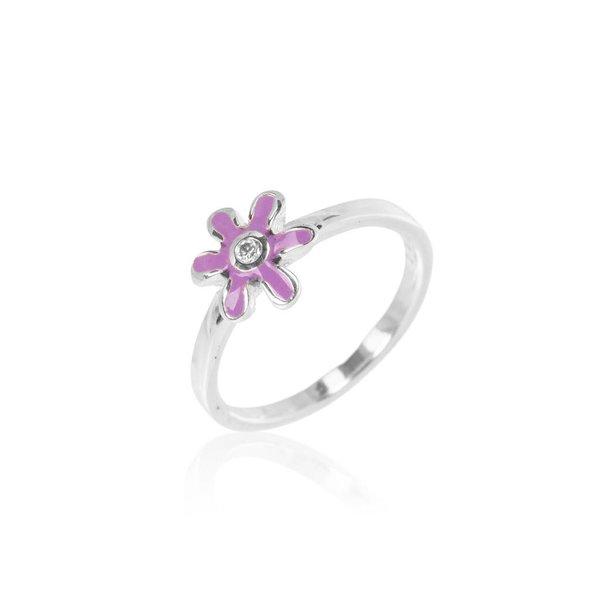 Zilveren kinderring - paarse bloem