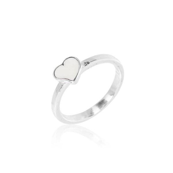 Zilveren kinderring - wit hart