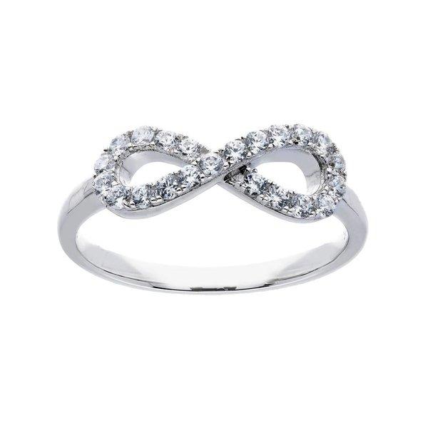 Zilveren damesring met symbool - infinity zirkonia